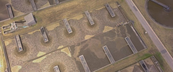 Aerial photo of aeration tanks at the Fishwater Flats Waste Water Treatment Works