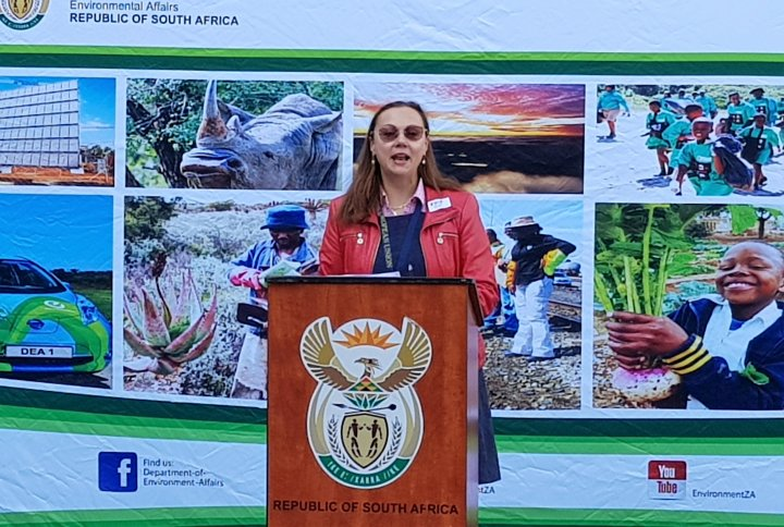 Ms. Dessislava Choumelova of the EU Delegation to South Africa speaks at the project launch event